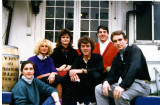 1987: Me at the top in the red sweater with fellow teachers in front of English Studio in Mita, Tokyo, Japan
