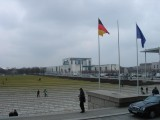 on the steps of the Reichstag