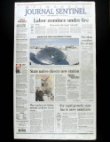 Front page, Milwaukee Journal Sentinel, Monday, January 8, 2001
