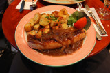Veal sausage and roast potatoes