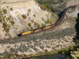 Empty coal train entering Burns canyon, CO