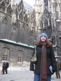 Francine outside the Cathedral