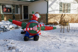 Being greeted by Santa