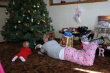 Aunt Michele and Brecken study the tree