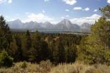 Mt. Moran and Jackson Lake, top of Signal Mountain