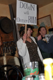 Carrie and Jeanine protesting their  way in.
