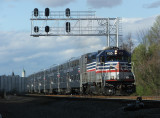 The earliest southbound VRE heads south through FB with V05, clean from the morning down pours.