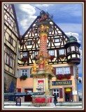 Old Fountain On Central Square, Rothenburg,Germany