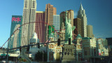 Skyline view of Las Vegas with New York, New York in the foreground.