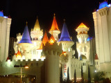 Illuminated towers of the Excalibur hotel and casino.