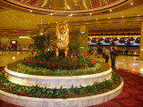 A lion statue display inside the hotel lobby of the MGM Grand.