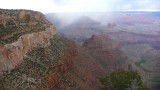 South Rim view with low clouds in the canyon.