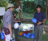 Raul Handing Out Helmets