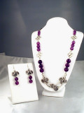 Amethyst Solid Silver Wirewrap Necklace Set