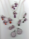 Solid Silver Wirewrap Pendant and Earrings Sets