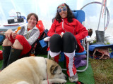 Lindsey and Rita, Go Go Go Girlz, hang out in our tent.