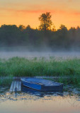 Blue Boat At Sunrise 17669
