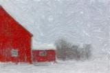 Red Barn In Snow 12036 Art