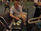John distributing the NZ dollars after the currency exchange.