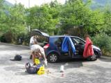 start in Bourg-d'Oisans op parkeerplaats in dorp