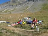 pauze nabij de refuge de l'Alpe