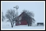 Red Barn in Blizzard