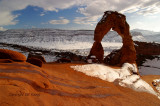 Melting snow at Delicate Arch