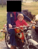 Mom and Scott on her Yamaha 125