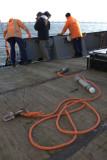 Preparations to attach one of the C-Pods to a buoy