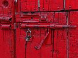 Red Door Open Latch Posterized