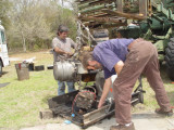 GLEN AND LOU HELP IN REMOVING THE OLD PERKINS