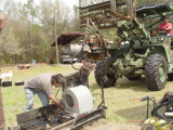 RANDY REMOVES THE OLD PERKINS AND GLEN TAKES CARE OF THE REMAINING PIESES TO MAKE ROOM FOR THE POWERTECH GENERATOR