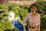 Mimi overlooking the garden courtyard of our B & B