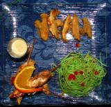 Brochettes de poulet et shitake en tempura