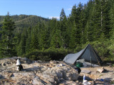 Kelly's first backpacking trip at 9wks