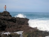 089 - Alex standing above the big Atlantic ocean waves