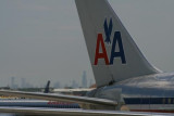 American Airlines tail (Sears Tower beyond)