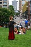 A knife juggler in Seattle
