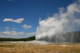 Old Faithful erupting at Yellowstone