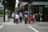 People crossing street in Vancouver