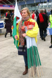 Lady selling Welsh flags, Cardiff