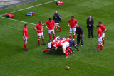 Welsh players warming up, Cardiff
