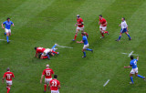 A bruising tackle by Lee Byrne, Cardiff