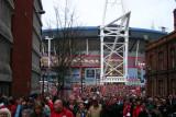 Fans leaving Millennium Stadium, Cardiff