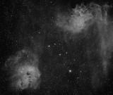 Tadpole Nebula (IC 410), Flaming Star Nebula (IC 405) in Auriga