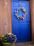 Blue Doorway with pansies
