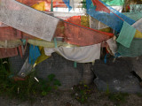 Prayer flags and mani stones