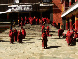 Monks in courtyard