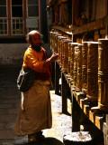 At the prayer wheels