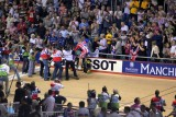 Chris Hoy receiving congratulations after becoming world champion